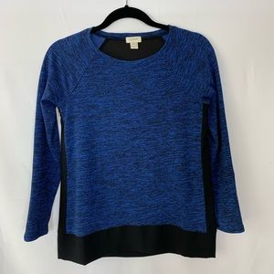 J.Crew Long Sleeves Top Blue Black Sheer Back